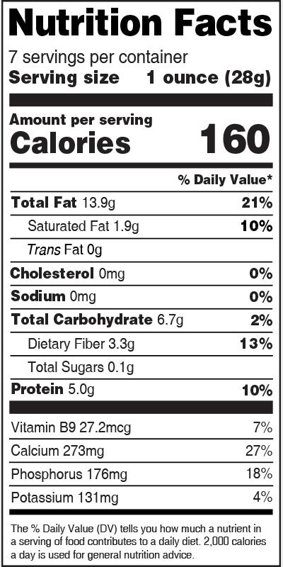 Nutrition Label Black Sesame Seed