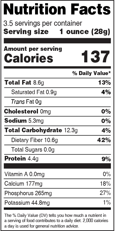 Nutrition Label Chia Seed
