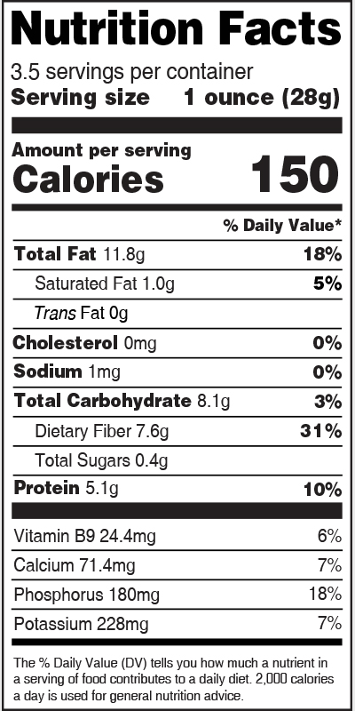 Nutrition Label Flax Seed