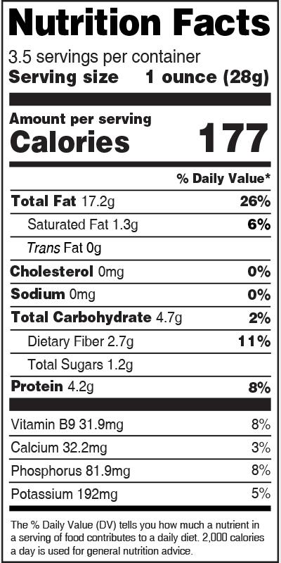 Nutrition Label Hazelnut