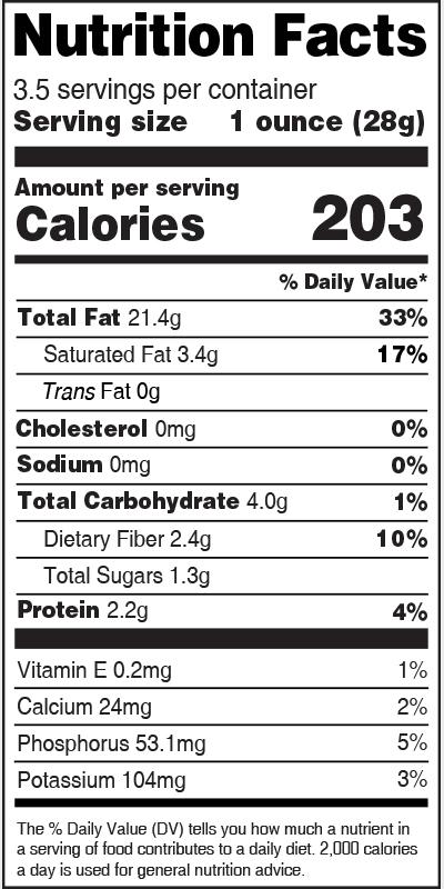 Nutrition Label Macadamia Nuts