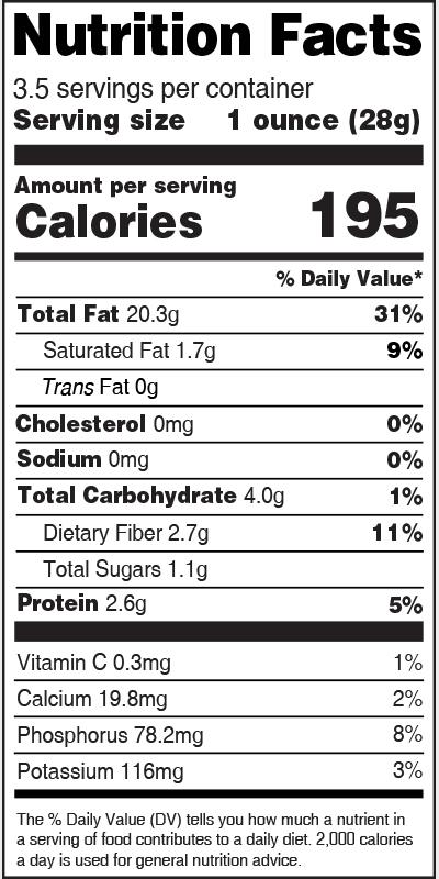 Nutrition Label Pecans