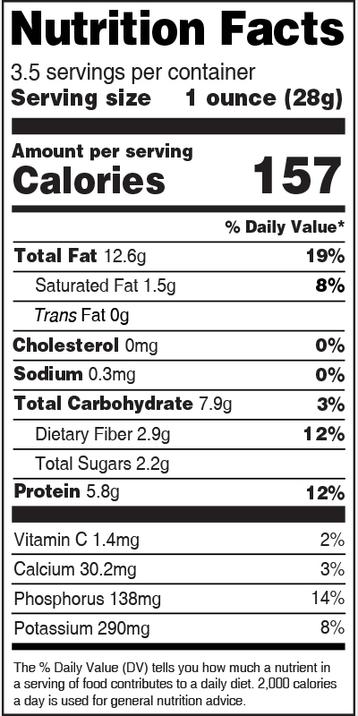 Nutrition Label Pistachio Kernels
