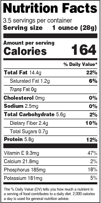 Nutrition Label Sunflower Seed