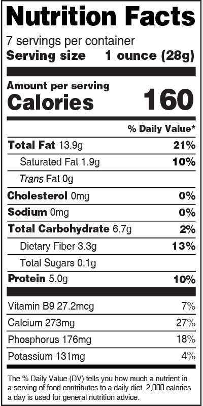 Nutrition Label White Sesame